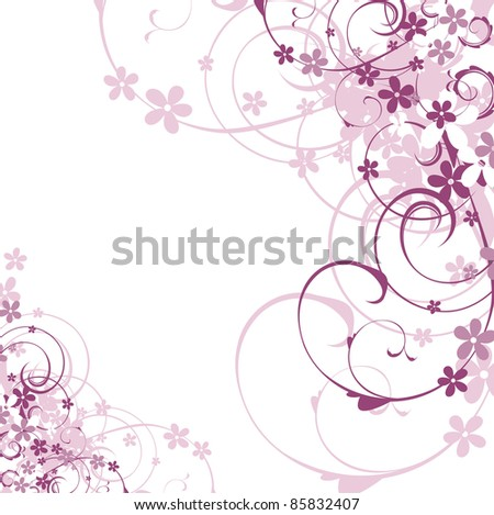 Lilac floral illustration - stock photo