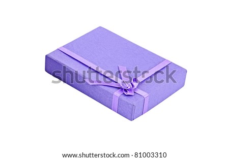Lilac gift box, isolated on white background