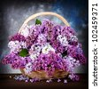 Lilac in basket - stock photo