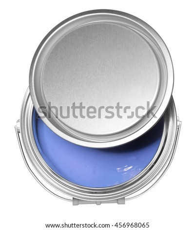 Lilac paint can and cover, isolated on white background