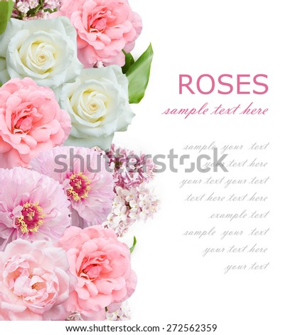 Lilac, peony and roses flowers bunch isolated on white background with sample text