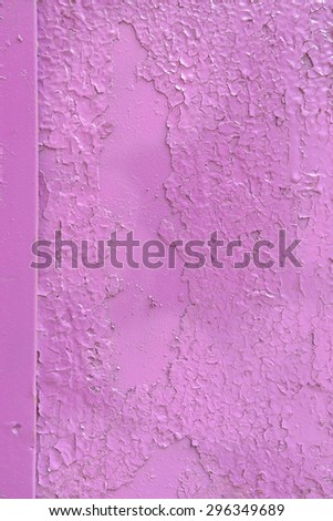 lilac plastered vintage wall with cracked paint - stock photo