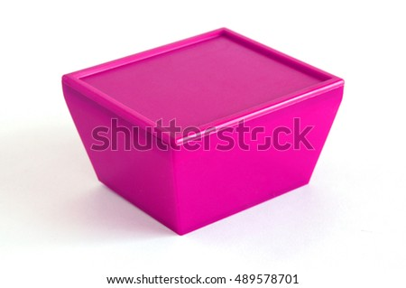 Lilac plastic box on a white background