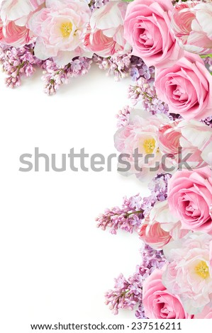 Lilac, roses and tulips flowers isolated on white with sample text - stock photo