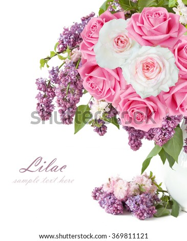 Lilac, sakura and roses bouquet isolated on white background - stock photo