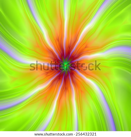Lilac Streams on Green and Orange / A digital abstract fractal image with a nine segmented design in lime green, orange and lilac. - stock photo
