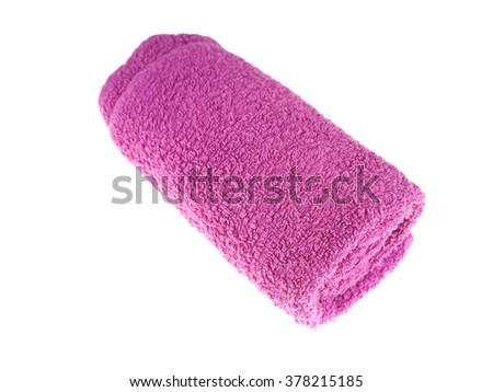 lilac towel on a white background