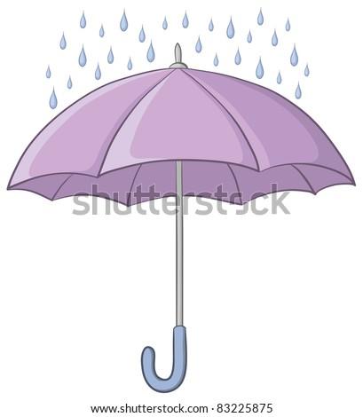 lilac umbrella and blue rain drops on white background - stock photo