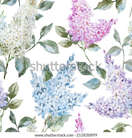 lilac, watercolor, pattern, spring, wallpaper, flowers - stock photo