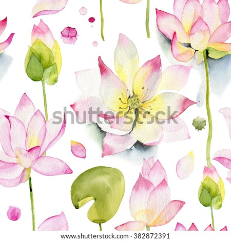 Lilies and lotuses on a white background. Pink lotus flowers watercolor seamless pattern. Watercolor pattern. Flowers pattern. - stock photo