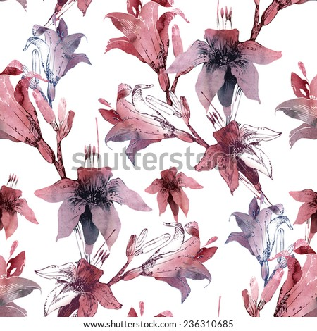 Lilies seamless pattern - stock photo
