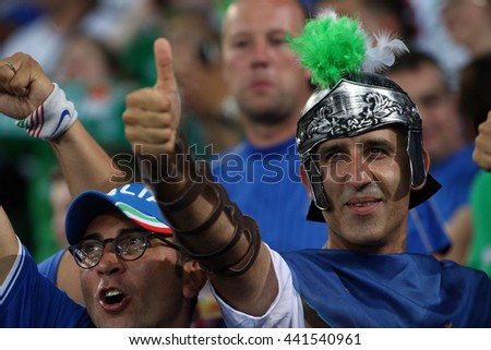 LILLE - FRANCE,  JUNE 2016 :fans and supporters   during  football match  of Euro 2016  in France between  Italy vs Irland at the  Stade Pierre Mauroy  on June 22, 2016 in Lille.