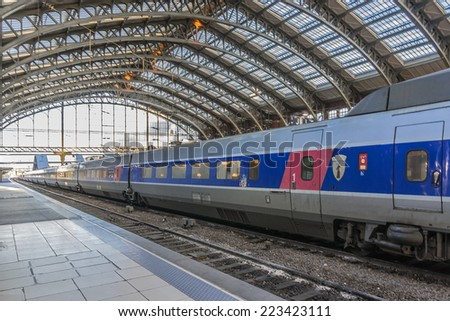 LILLE, FRANCE - MAY 12, 2014: Interior of Lille Flandres (Gare du Lille) railway station. Lille Flandres is main railway station of Lille, capital city of French Flanders. It opened in 1842.