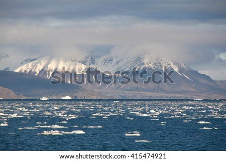 lillieho?o?kbreen glacier by the sea in Svalbard, Norway  - stock photo