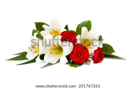 Lilly and rose on white background - stock photo