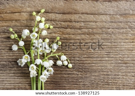 Lilly of the valley flowers on wooden background. - stock photo