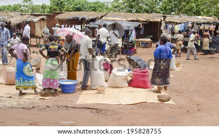 LILONGWE, MALAWI - JANUARY 16: a food market on January 16, 2014 in Lilongwe, Malawi. Lilongwe is the capital and largest city in Malawi with a population of 979,000.  - stock photo
