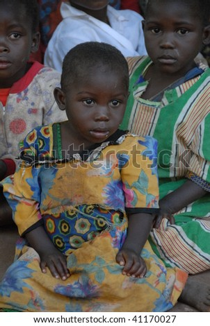 LILONGWE, MALAWI - MAY 2: Orphans outside of the Chisom orphanage in Lilongwe Malawi on May 2, 2008. - stock photo