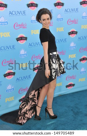 Lily Collins at the 2013 Teen Choice Awards at the Gibson Amphitheatre, Universal City, Hollywood. August 11, 2013  Los Angeles, CA
