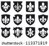 lily flower - heraldic symbol fleur de lis and medieval shields (royal french lily symbols for design and decorate, lily flowers collection, lily flowers set, shields set) - stock vector
