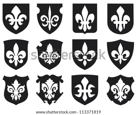 lily flower - heraldic symbol fleur de lis and medieval shields (royal french lily symbols for design and decorate, lily flowers collection, lily flowers set, shields set) - stock photo