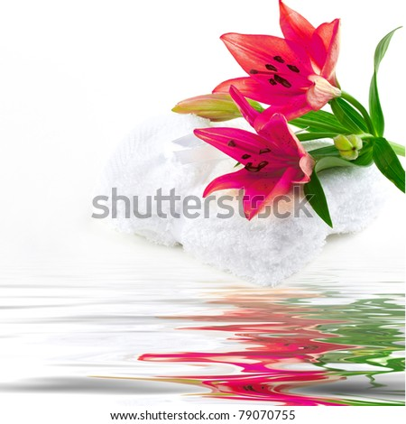 Lily flower on towel with water reflection