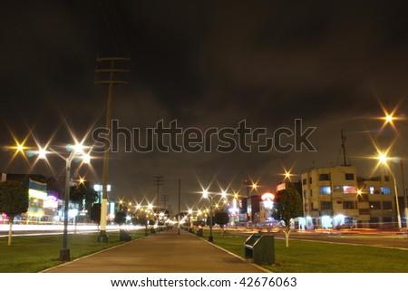 Lima at night, Peru - stock photo