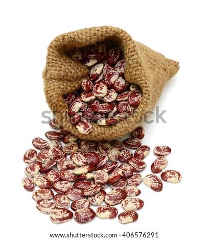 Lima beans in sacks isolated on white background - stock photo