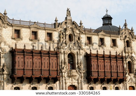 Lima - capital of Peru. Cityscape - Plaza de Armas - main squer in town - architecture detail. The picture presents Arzobispal Palace - stock photo