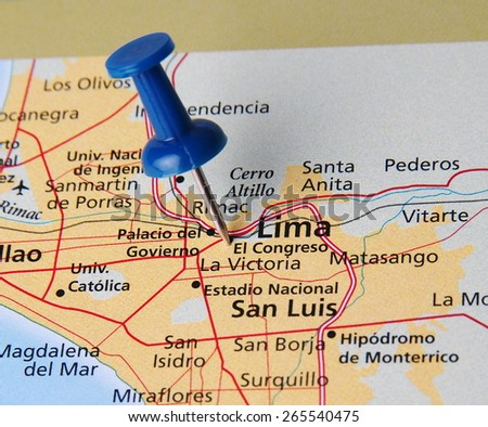 Lima destination in the map - stock photo