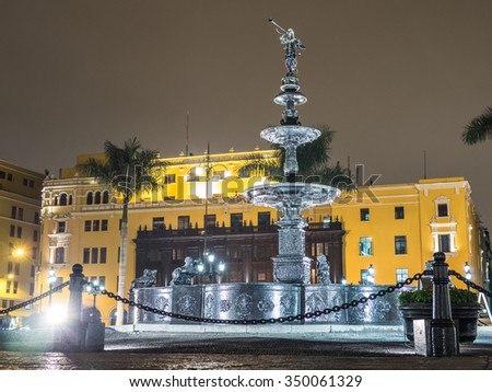 Lima, fountain in Plaza de Armas (main square) - stock photo