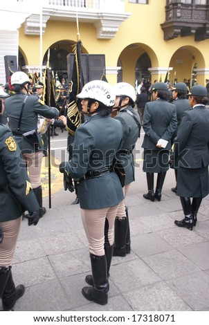 LIMA, PERU - 30 AUG 2008: Unidentified female transit police at a parade on August 30, 2008 in Lima,	Peru, South America