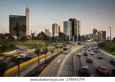 LIMA - PERU CIRCA 2015: View of San Isidro district skyline and freeway at the afternoon circa 2015 in Lima. - stock photo