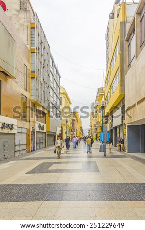 LIMA, PERU, MAY 24, 2014: Jiron de la Union, the pedestrian shopping street in old city center - stock photo