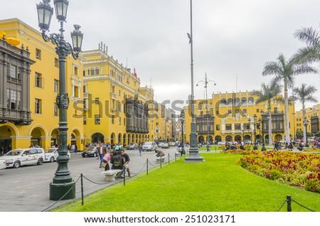 LIMA, PERU, MAY 23, 2014: Plaza Mayor - stock photo