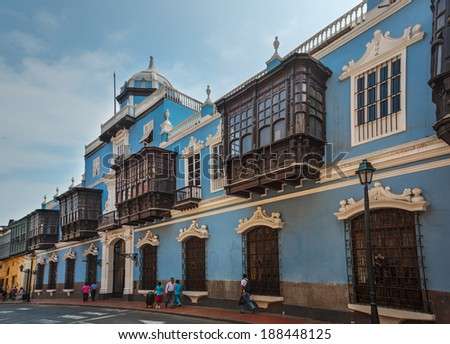 LIMA - PERU: Osambela antique house in the down town. - stock photo