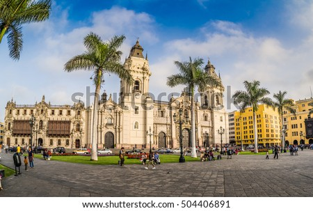 LIMA, PERU: Panoramic view of the Cathedral church in the Old town of the city.