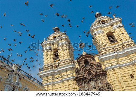 LIMA - PERU: San Francisco church in the down town of the city - stock photo