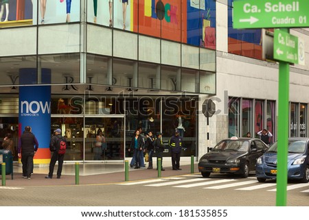 LIMA, PERU - SEPTEMBER 25, 2011: Unidentified people at the entrance of the Ripley department store on September 25, 2011 in Miraflores, Lima, Peru  - stock photo