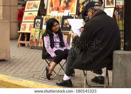 LIMA, PERU - SEPTEMBER 25, 2011: Unidentified street artist drawing a picture of an unidentified young Peruvian girl on September 25, 2011 in the district of Miraflores in Lima, Peru  - stock photo