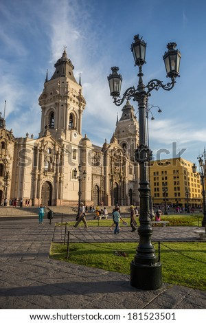 LIMA - PERU: View of the cathedral church and the main square in the down town. - stock photo