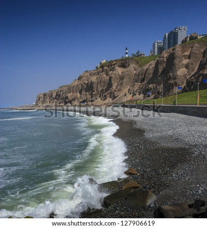 LIMA-PERU: View of the costaverde sea shore in miraflores town - stock photo