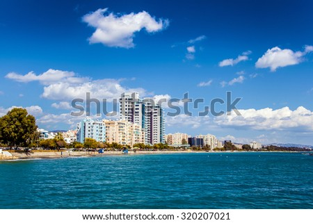 Limassol city, coastline in Cyprus - stock photo