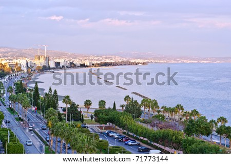 Limassol, Cyprus. Coastline and beach aerial view - stock photo