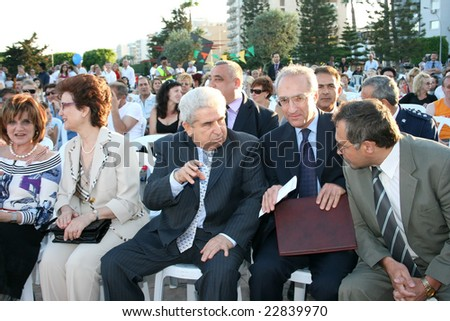 LIMASSOL,CYPRUS-JUNE 7, 2008: President  Dimitris Christofias in Cypriot-Russian festival.