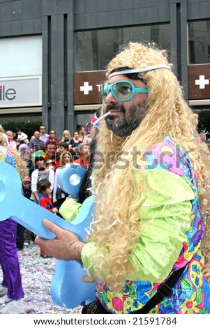 LIMASSOL,CYPRUS-MARCH 9:Unidentified people in Cyprus carnival parade, MARCH 9, 2008 in Limassol,Cyprus. - stock photo