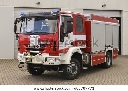 LIMBAZI, LATVIA - MARCH 19, 2017: New modern fire truck IVECO MAGIRUS in Latvia
