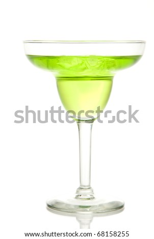 Lime and green apple margarita in chilled glass with tequila; triple sec; juice; simple syrup and crushed ice isolated on a white background