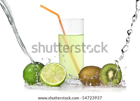 lime and kiwi juice with splash isolated on white - stock photo