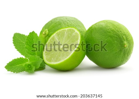 lime and mint leaf isolated on white background - stock photo